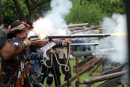 Matchlocks firing