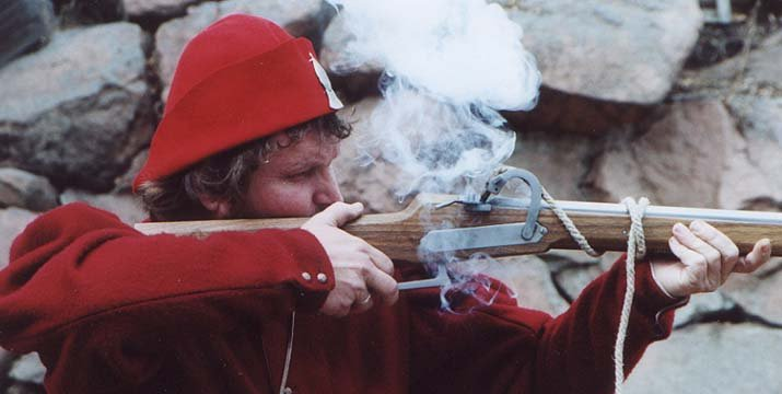 A matchlock being fired